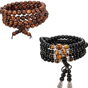 Other - 2PCS 6mm 8mm 108 Bead Bracelet for Men Women Tiger